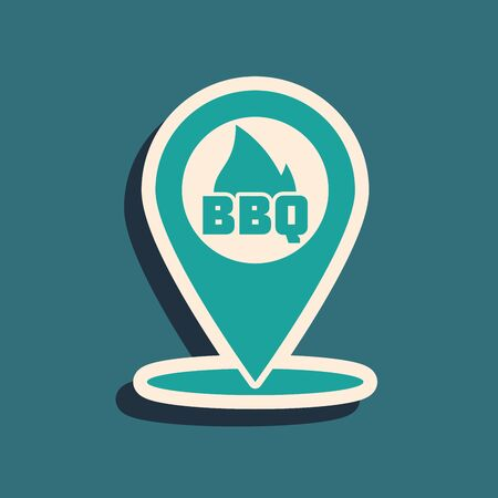 Green Map pointer with barbecue icon isolated on blue background. Fire flame icon. Barbecue and BBQ grill symbol. Long shadow style. Vector Illustration