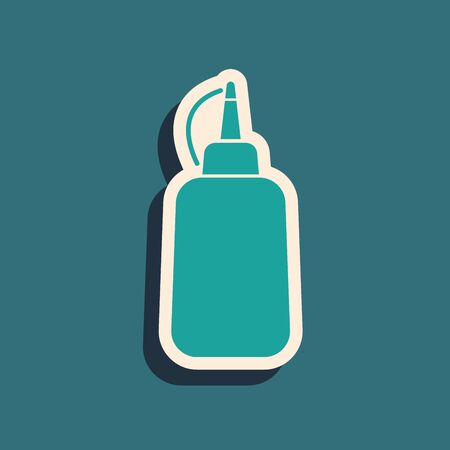 Green Mustard bottle icon isolated on blue background. Long shadow style. Vector Illustration 向量圖像