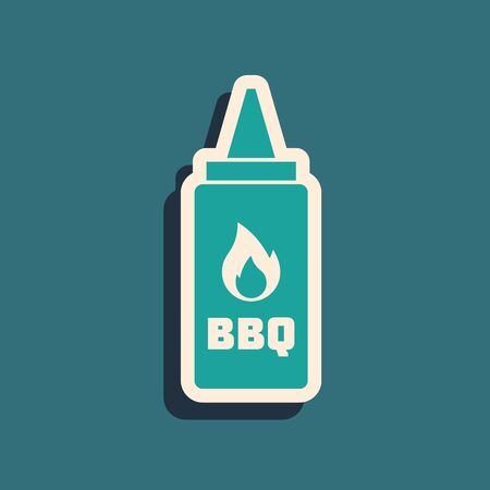 Green Ketchup bottle icon isolated on blue background. Fire flame icon. Barbecue and BBQ grill symbol. Long shadow style. Vector Illustration
