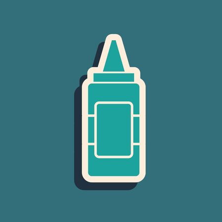 Green Mustard bottle icon isolated on blue background. Long shadow style. Vector Illustration Illustration