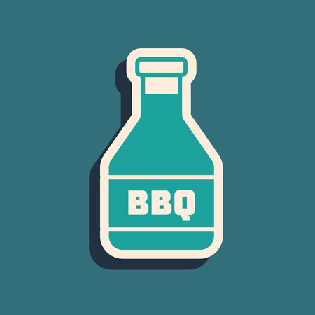 Green Ketchup bottle icon isolated on blue background. Barbecue and BBQ grill symbol. Long shadow style. Vector Illustration