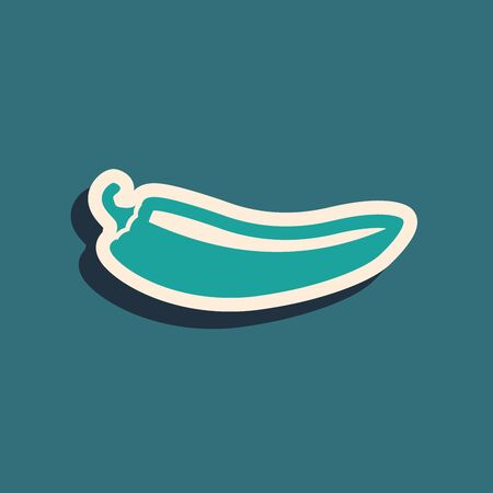 Green Hot chili pepper pod icon isolated on blue background. Design for grocery, culinary products, seasoning and spice package, cooking book. Long shadow style. Vector Illustration 向量圖像