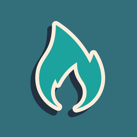 Green Fire flame icon isolated on blue background. Heat symbol. Long shadow style. Vector Illustration