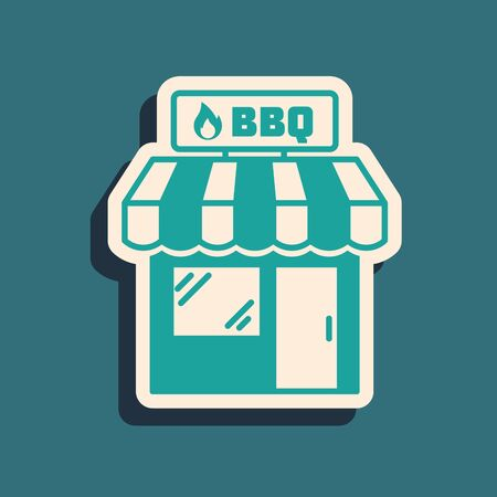 Green Barbecue shopping building or market store icon isolated on blue background. BBQ grill party. Shop construction. Long shadow style. Vector Illustration Illustration