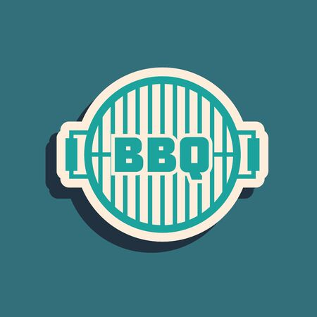 Green Barbecue grill icon isolated on blue background. Top view of BBQ grill. Steel grid. Long shadow style. Vector Illustration