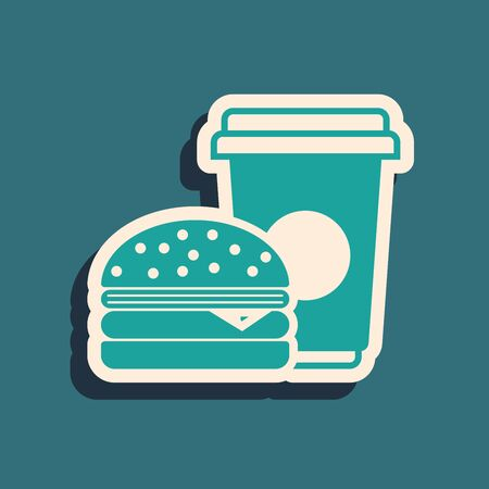 Green Coffee and burger icon isolated on blue background. Fast food symbol. Long shadow style. Vector Illustration