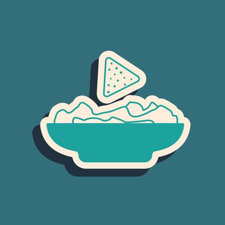 Green Nachos in plate icon isolated on blue background. Tortilla chips or nachos tortillas. Traditional mexican fast food. Long shadow style. Vector Illustration