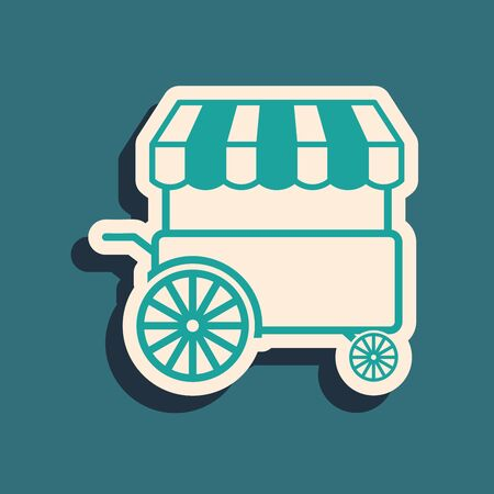 Green Fast street food cart with awning icon isolated on blue background. Urban kiosk. Long shadow style. Vector Illustration