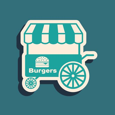 Green Fast street food cart with awning icon isolated on blue background. Burger or hamburger icon. Urban kiosk. Long shadow style. Vector Illustration Stock Illustratie