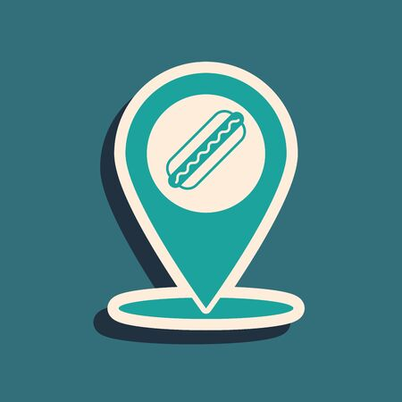 Green Map pointer with fast food hotdog icon isolated on blue background. Sausage icon. Long shadow style. Vector Illustration