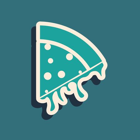 Green Slice of pizza icon isolated on blue background. Long shadow style. Vector Illustration