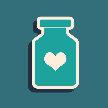 Green Medicine bottle with pills for potency, aphrodisiac icon isolated on blue background. Sex pills for men and women. Long shadow style. Vector Illustration