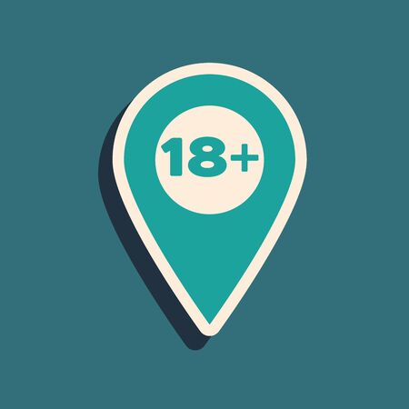 Green Map pointer with 18 plus icon isolated on blue background. Age restriction symbol. 18 plus content sign. Adults content only icon. Long shadow style. Vector Illustration