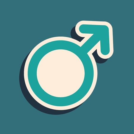 Green Male gender symbol icon isolated on blue background. Long shadow style. Vector Illustration Illustration
