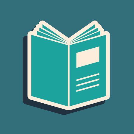Icono de libro abierto verde aislado sobre fondo azul. Estilo de sombra larga. Ilustración vectorial