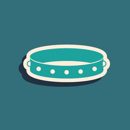 Green Leather fetish collar with metal spikes on surface icon isolated on blue background. Fetish accessory. Sex toy for men and woman. Long shadow style. Vector Illustration