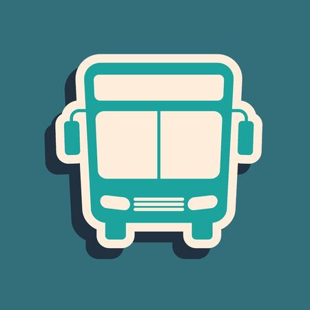 Green Bus icon isolated on blue background. Transportation concept. Bus tour transport sign. Tourism or public vehicle symbol. Long shadow style. Vector Illustration