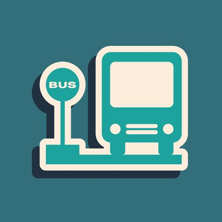 Green Bus stop icon isolated on blue background. Transportation concept. Bus tour transport sign. Tourism or public vehicle symbol. Long shadow style. Vector Illustration