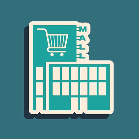 Green Mall or supermarket building with shopping cart icon isolated on blue background. Shop or store. Long shadow style. Vector Illustration