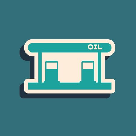 Green Gas filling station icon isolated on blue background. Transport related service building Gasoline and oil station. Long shadow style. Vector Illustration Illustration
