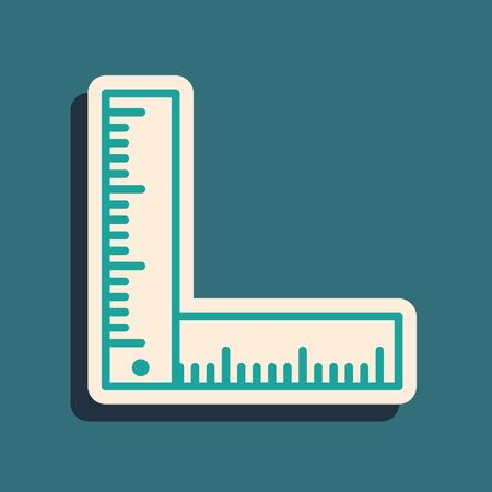 Green Folding ruler icon isolated on blue background. Long shadow style. Vector Illustration