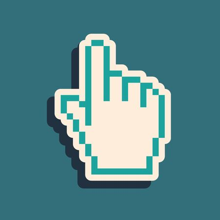 Green Pixel hand cursor icon isolated on blue background. Pointer hand cursor. Long shadow style. Vector Illustration Çizim