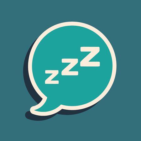 Green Speech bubble with snoring icon isolated on blue background. Concept of sleeping, insomnia, alarm clock app, deep sleep, awakening. Long shadow style. Vector Illustration