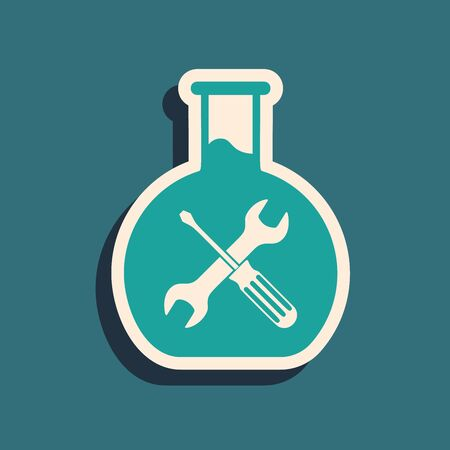 Green Bioengineering with screwdriver and wrench icon isolated on blue background. Adjusting, service, setting, maintenance, repair, fixing. Long shadow style. Vector Illustration