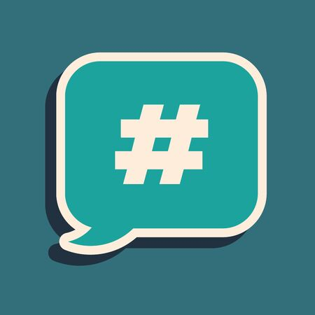 Green Hashtag speech bubble icon isolated on blue background. Concept of number sign, social media marketing, micro blogging. Long shadow style. Vector Illustration Çizim
