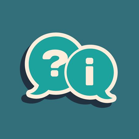 Green Speech bubbles with Question and Exclamation icon isolated on blue background. FAQ sign. Copy files, chat speech bubble and chart. Long shadow style. Vector Illustration