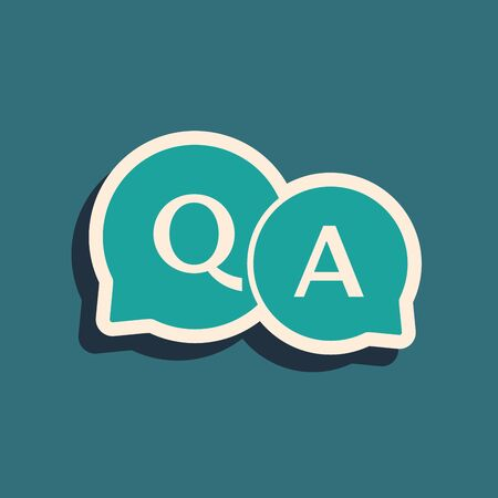Green Speech bubbles with Question and Answer icon isolated on blue background. Q and A symbol. FAQ sign. Chat speech bubble and chart. Long shadow style. Vector Illustration