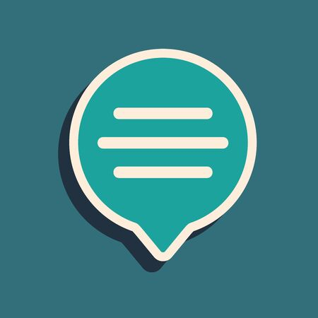 Green Speech bubble chat icon isolated on blue background. Message icon. Communication or comment chat symbol. Long shadow style. Vector Illustration