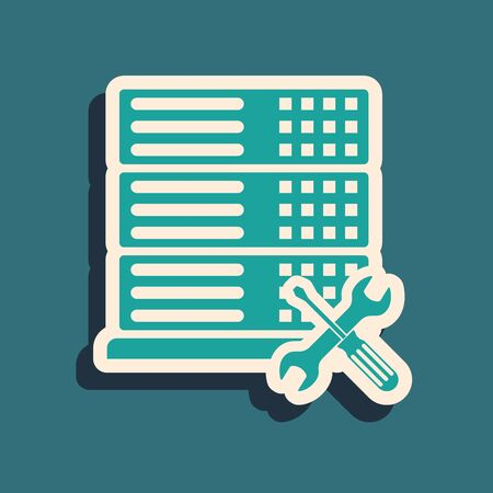 Green Database server with screwdriver and wrench icon isolated on blue background. Adjusting, service, setting, maintenance, repair, fixing. Long shadow style. Vector Illustration