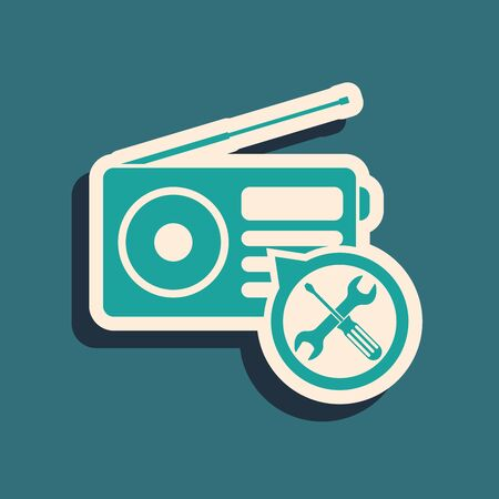 Green Radio with screwdriver and wrench icon isolated on blue background. Adjusting, service, setting, maintenance, repair, fixing. Long shadow style. Vector Illustration