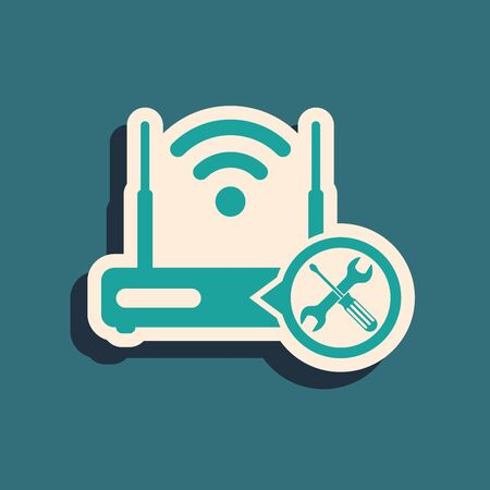 Green Router wi-fi with screwdriver and wrench icon isolated on blue background. Adjusting, service, setting, maintenance, repair, fixing. Long shadow style. Vector Illustration