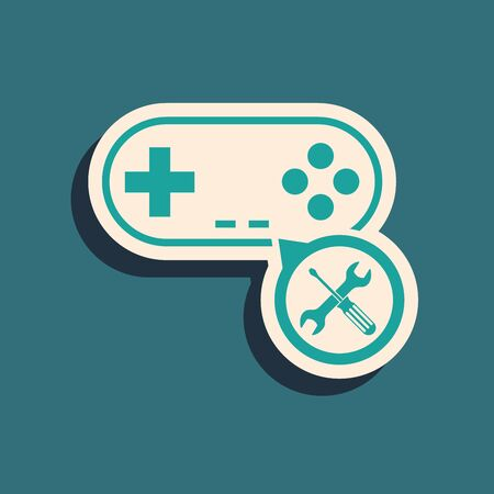 Green Gamepad with screwdriver and wrench icon isolated on blue background. Adjusting, service, setting, maintenance, repair, fixing. Long shadow style. Vector Illustration