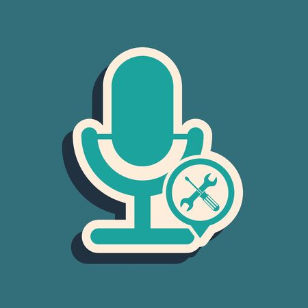 Green Microphone with screwdriver and wrench icon isolated on blue background. Adjusting, service, setting, maintenance, repair, fixing. Long shadow style. Vector Illustration Stock Illustratie