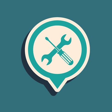 Green Location with crossed screwdriver and wrench tools icon isolated on blue background. Pointer settings symbol. Long shadow style. Vector Illustration