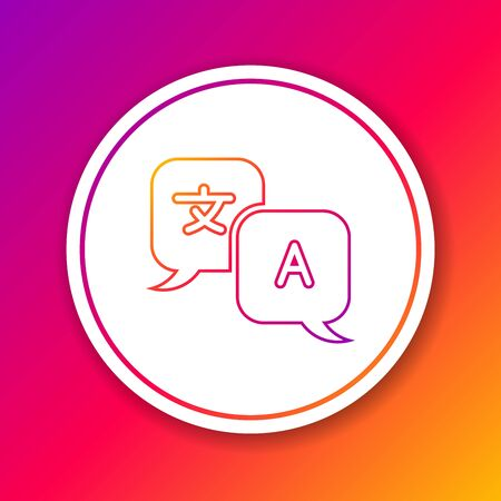 Color line Translator icon isolated on color background. Foreign language conversation icons in chat speech bubble. Translating concept. Circle white button. Vector Illustration Иллюстрация