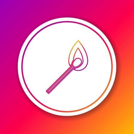 Color line Burning match with fire icon isolated on color background. Match with fire. Matches sign. Circle white button. Vector Illustration