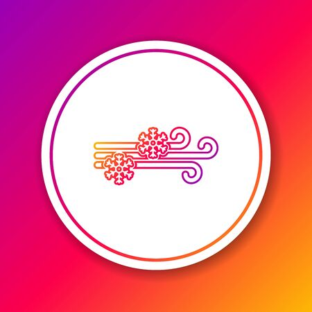 Color line Wind and snow icon isolated on color background. Windy weather. Circle white button. Vector Illustration