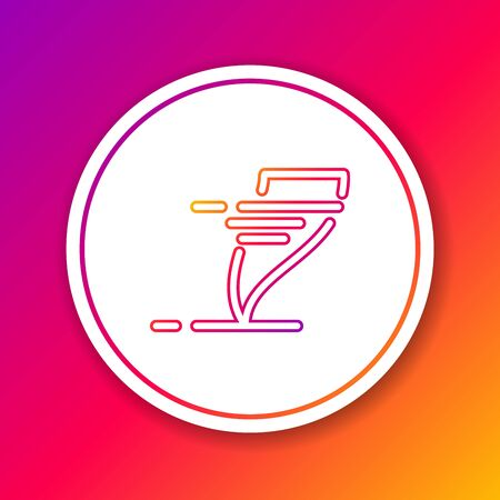 Color line Tornado icon isolated on color background. Cyclone, whirlwind, storm funnel, hurricane wind or twister weather icon. Circle white button. Vector Illustration  イラスト・ベクター素材