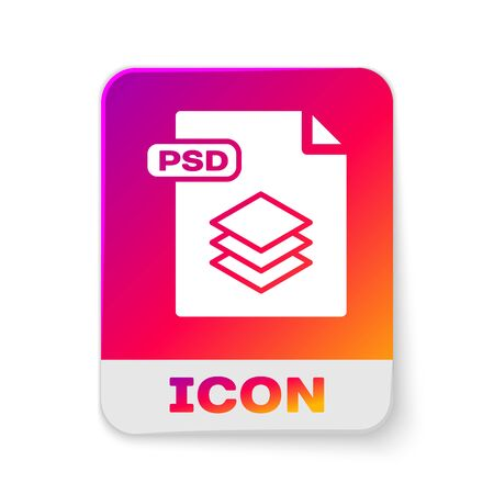 White PSD file document. Download psd button icon isolated on white background. PSD file symbol. Rectangle color button. Vector Illustration