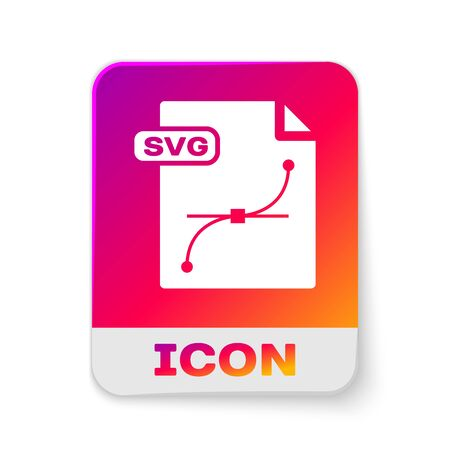 White SVG file document. Download svg button icon isolated on white background. SVG file symbol. Rectangle color button. Vector Illustration