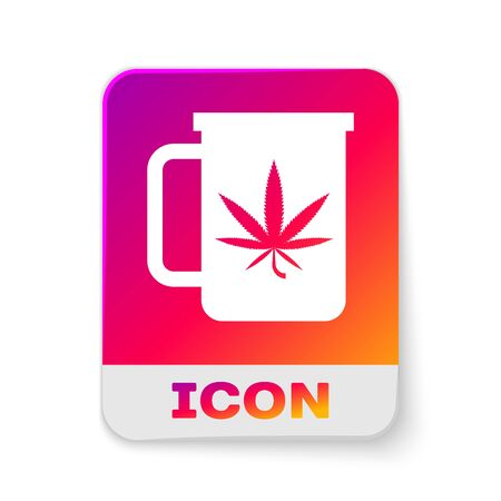 White Cup tea with marijuana or cannabis leaf icon isolated on white background. Marijuana legalization. Hemp symbol. Rectangle color button. Vector Illustration Illustration