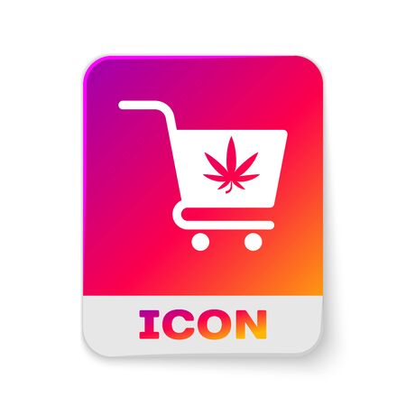White Shopping cart with marijuana or cannabis leaf icon isolated on white background. Online buying. Delivery service. Supermarket basket. Rectangle color button. Vector Illustration