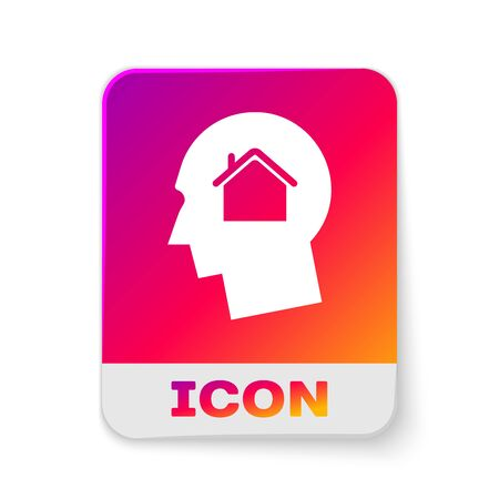 White Man dreaming about buying a new house icon isolated on white background. Rectangle color button. Vector Illustration