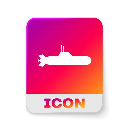 White Submarine icon isolated on white background. Military ship. Rectangle color button. Vector Illustration