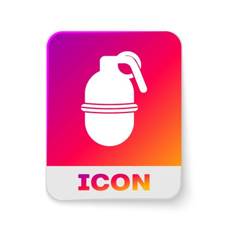 White Hand grenade icon isolated on white background. Bomb explosion. Rectangle color button. Vector Illustration Illustration