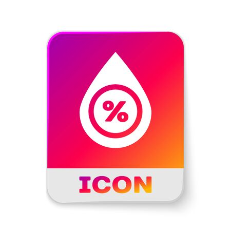 White Water drop percentage icon isolated on white background. Humidity analysis. Rectangle color button. Vector Illustration